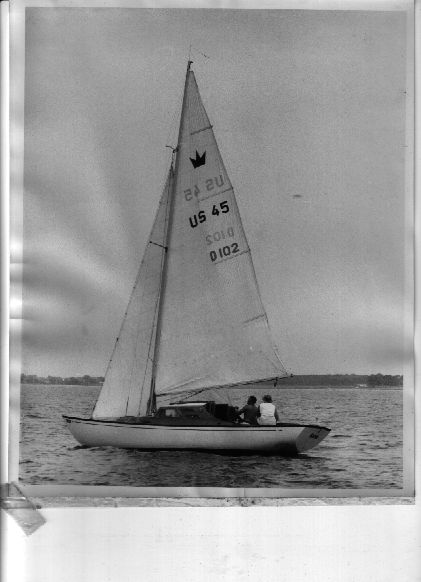Mom and Dad sailing Alva on the Chesapeake